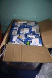 A box of  medical supplies  from HANDS International