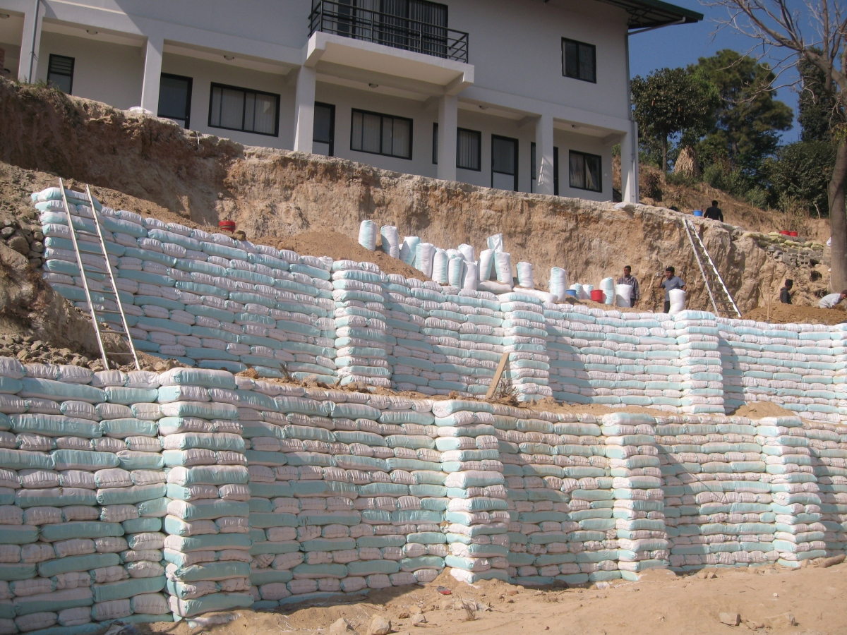 Earth Bag Retaining Wall in Binayak Bal School